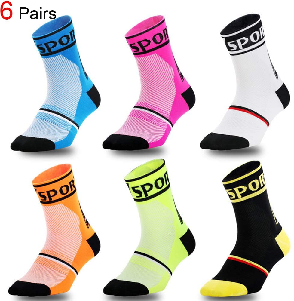 Compression Training Socks Outdoor Cycling Football Running Men/&Women Sports Socks 6 Pairs Assorted
