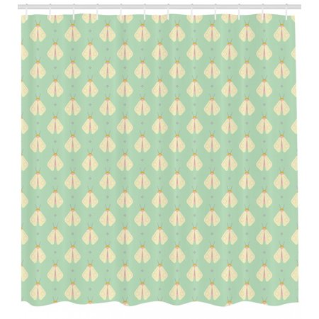 Firefly Shower Curtain, Firefly Figures with Geometric Circle Icons on the Wings Woodland, Fabric Bathroom Set with Hooks, 69W X 84L Inches Extra Long, Pale Yellow Almond Green, by - Firefly Wings