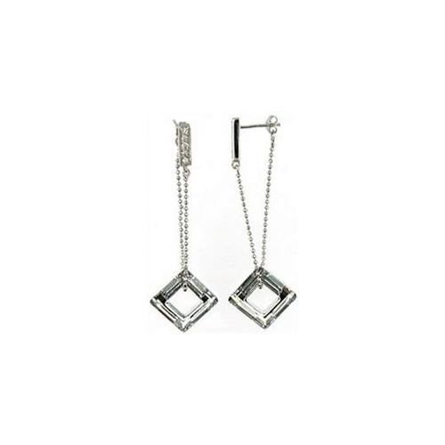 Doma Jewellery DJS00221 Sterling Silver Drop Earring with Open Square CZ