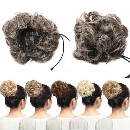 S-noilite Real Natural Curly Messy Hair Buns Extensions Hair Piece Scrunchie Updo Hair Extensions Dark (Best Of Bun B)