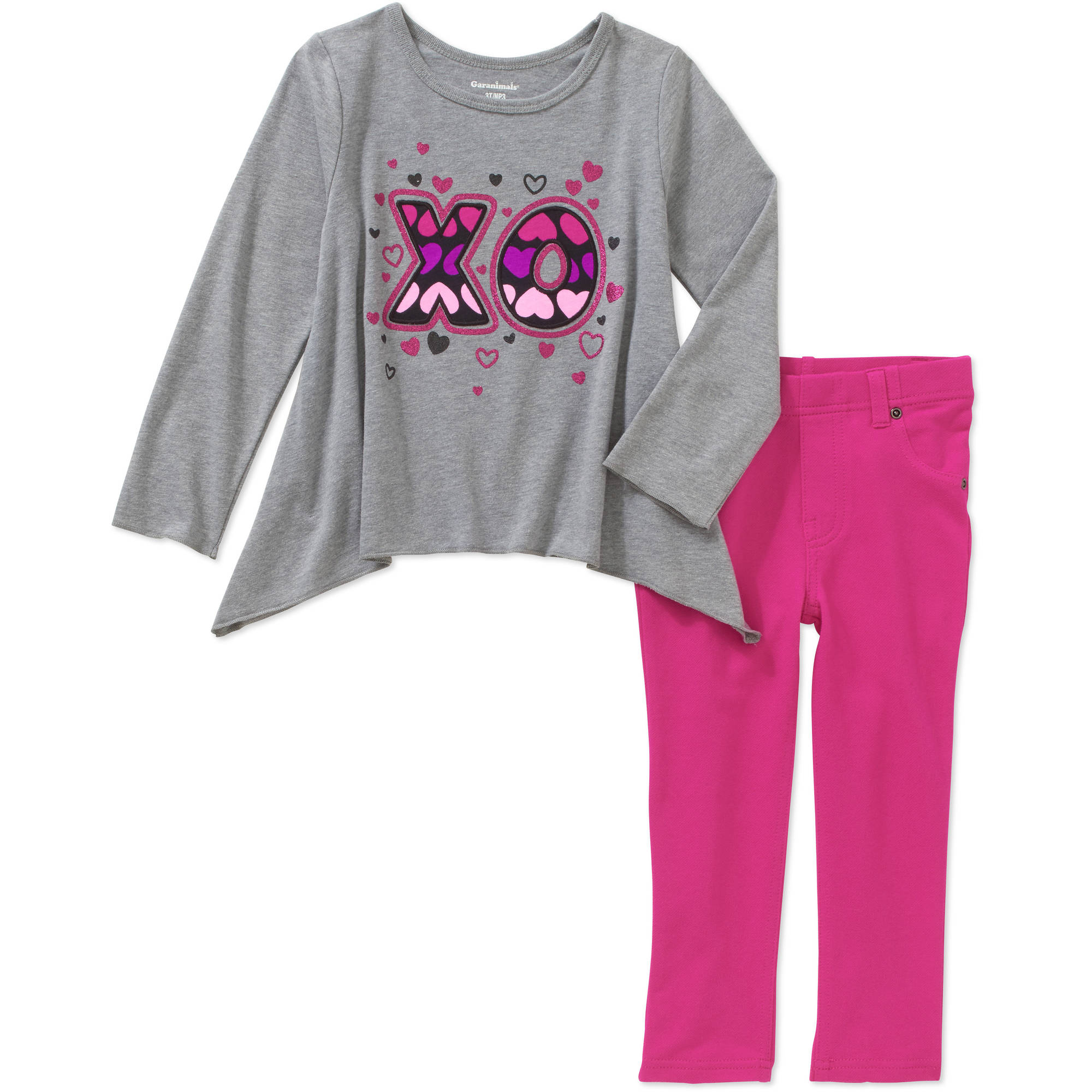 Garanimals Baby Toddler Girls' Long Sleeve Sharkbite Tee and Solid Jeggings 2-Piece Set