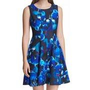 Womens Blue A-Line Dress Floral Print Fit & Flare 12