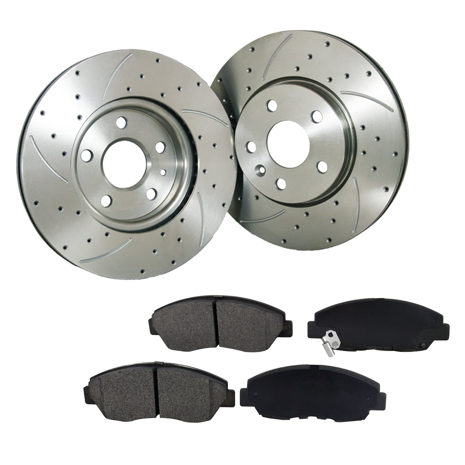 [2 Disc 4PADS]Front Drilled Slotted Brake Rotor & Pads fit Honda Civic Acura RSX by Transglobe Automotive