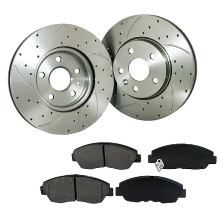 [2 Disc 4PADS]Front Drilled Slotted Brake Rotor & Pads fit Chrysler Dodge