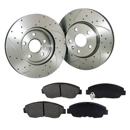 [2Disc 4PADS]276mm Front Drilled Slotted Brake Rotor & Pads fit Ford Mustang R