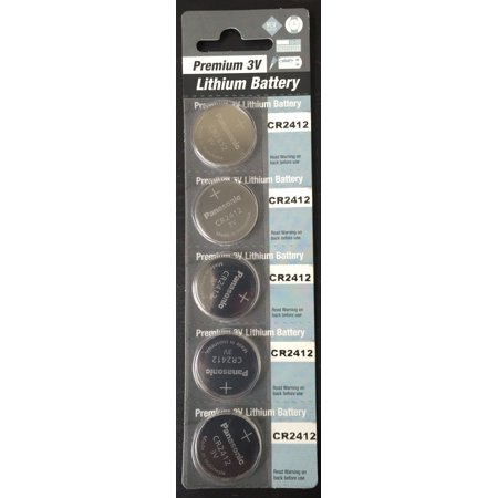 Panasonic CR2412 3V Lithium Coin Battery - 5 Pack + Free Shipping