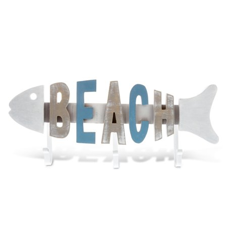 Nautical Decor CoTa Global Aqua Sky Beach Fish 3 Hook Wall Accent ()