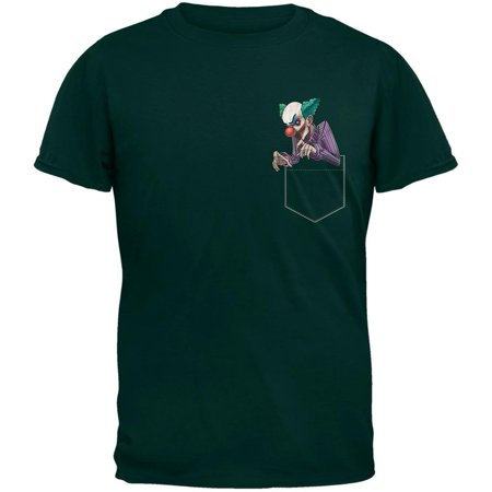 Pocket Halloween Horror Scary Clown Forest Green Adult T-Shirt - Universal Studios Halloween Horror Nights Clown
