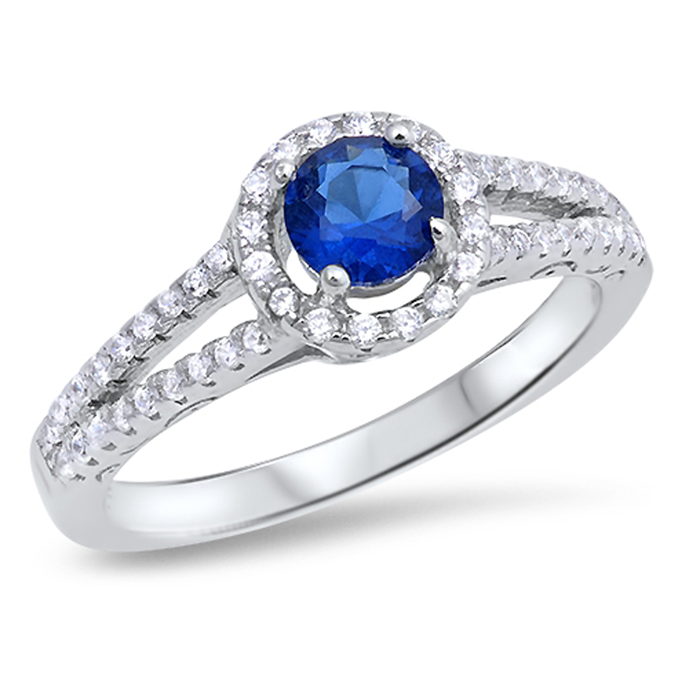 Round Blue Simulated Sapphire Halo Wedding Ring ( Sizes 5 6 7 8 9 10 ) .925 Sterling Silver Band Rings by Sac Silver (Size 9)