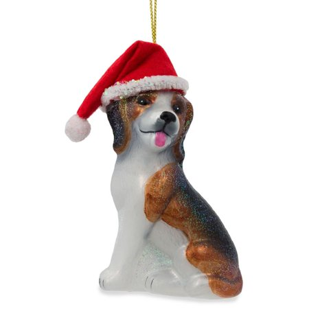 Beagle Dog with Santa Hat Blown Glass Christmas Ornament 4 Inches Blown Glass Santa Ornament