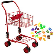 Toy Shopping Cart for Kids and Toddler - Includes Food - Folds for Easy Storage Metal FrameHighest Qualitly Metal Cart with pivoting front wheels just like in.., By The New York Doll Collection