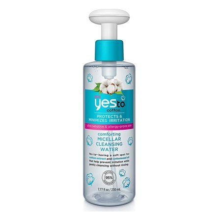 Yes To Cotton Protects and Minimizes Irriation for Ultra Sensitive and Allergy Prone Skin Comforting Micellar Cleansing Water, 7.77 Oz + Yes to Tomatoes Moisturizing Single Use