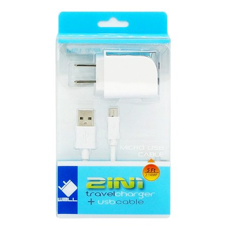 Compatible with Sony Xperia Z5 Premium Cell Phones Accessory Kit 2 in 1 Charger Set [2.1 Amp USB Home Charger + 5 Feet Micro USB Cable] White - image 6 de 9