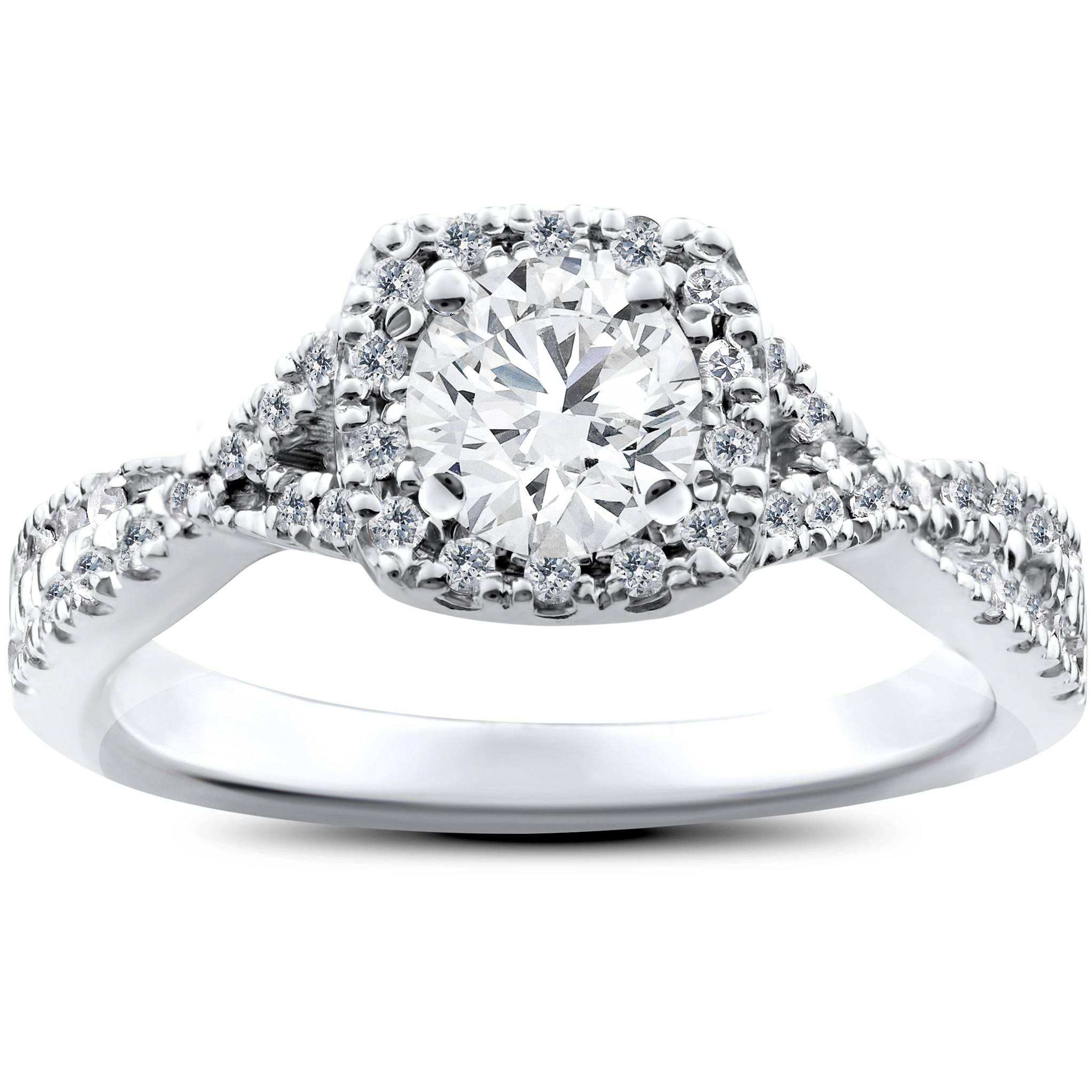 1ct Cushion Halo Solitaire Round Diamond Engagement Ring 14K White Gold by Pompeii3