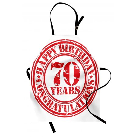 70th Birthday Apron 70 Years Congrats Symbol Icon Grunge Looking Stamp in Vintage Old Design, Unisex Kitchen Bib Apron with Adjustable Neck for Cooking Baking Gardening, Red and White, by