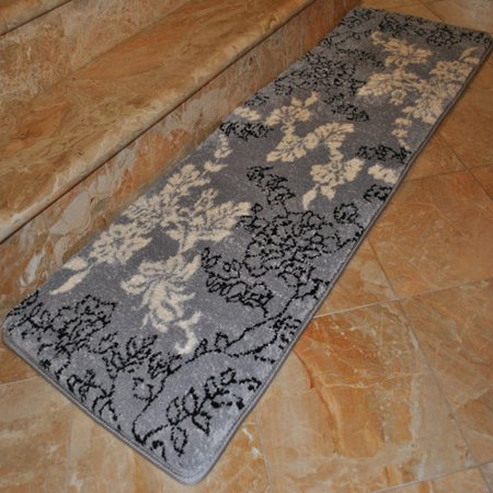 Fashion Street Extra Long Floral Memory Foam Bath Rug 1 8