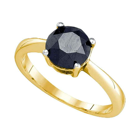 10K Yellow Gold Black Colored Round Diamond Solitaire Womens Bridal Engagement Ring  2 05 Cttw   Size  5 5