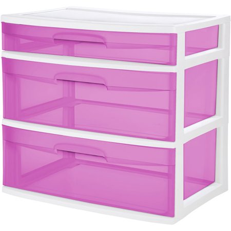 Sterilite 3 Drawer Pink Chest Of Drawers