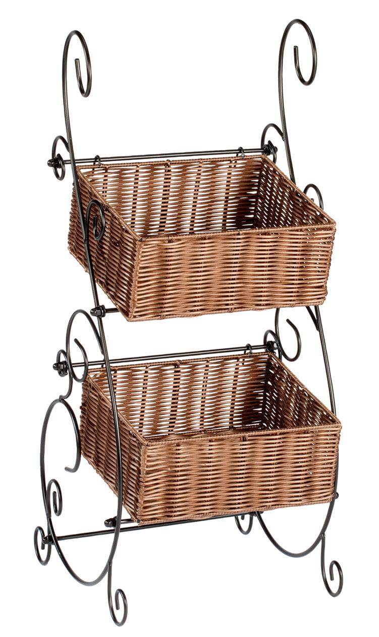 Wicker & Metal Storage Baskets by OakRidgeTM XL by Miles Kimball