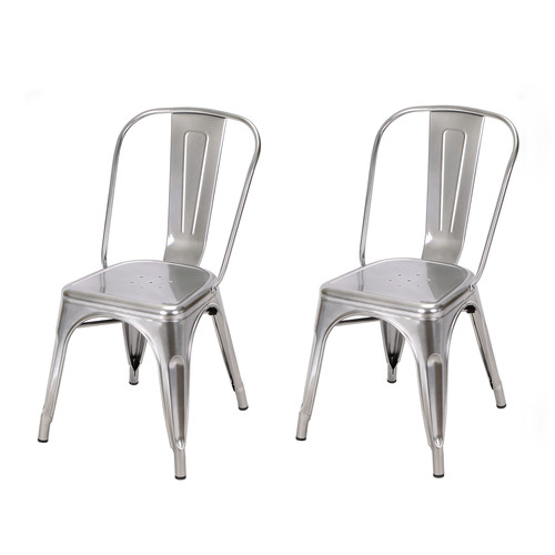 Adeco Glossy Light Blue Tolix Style Metal Bistro Chairs (Set Of 2)   Extra