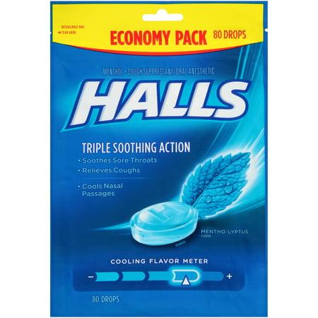 halls mentho lyptus triple soothing action menthol cough suppressant oral anesthetic drops 80 ct. Black Bedroom Furniture Sets. Home Design Ideas