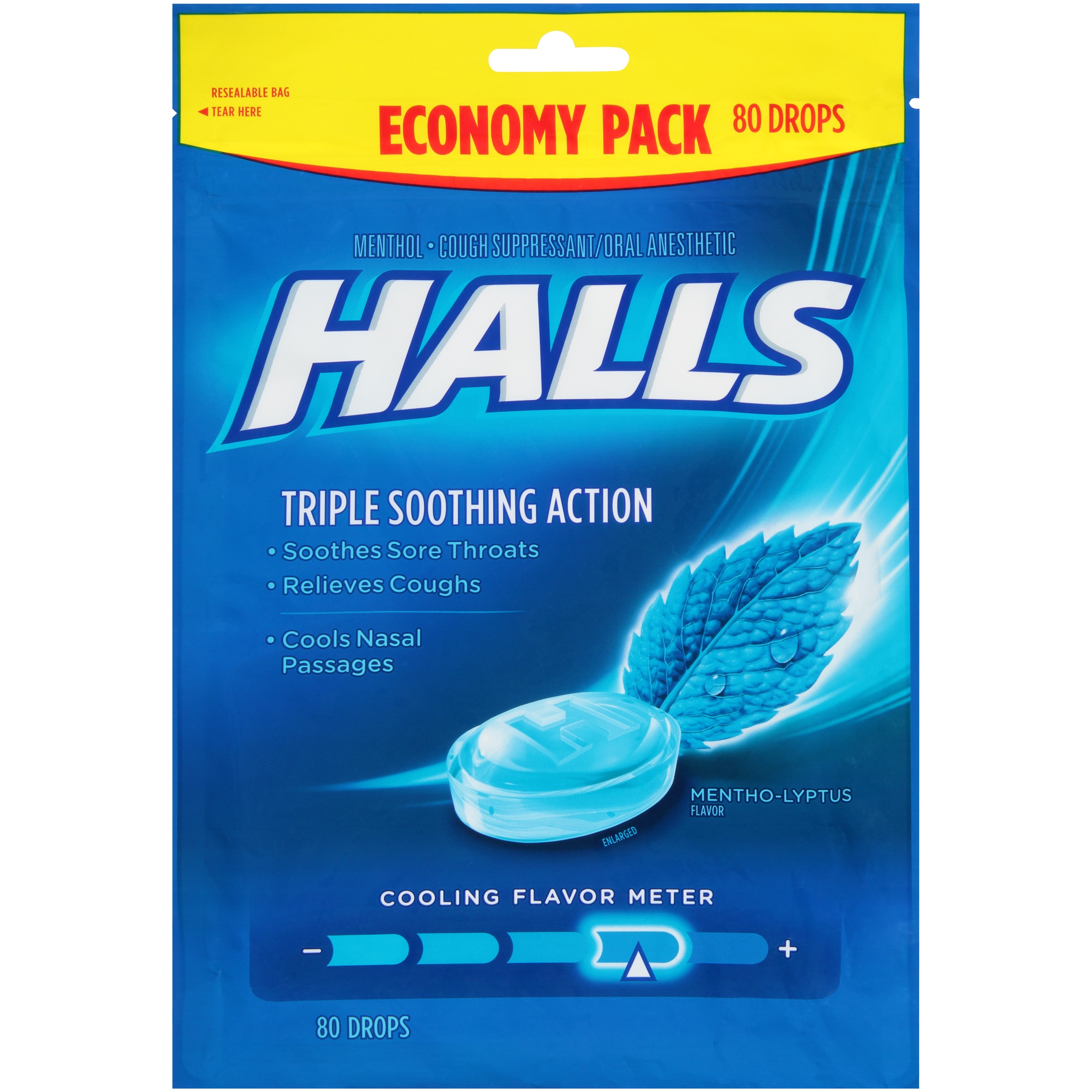 Halls Mentho-Lyptus Triple Soothing Action Menthol Cough Suppressant/Oral Anesthetic Drops 80 ct. Pouch