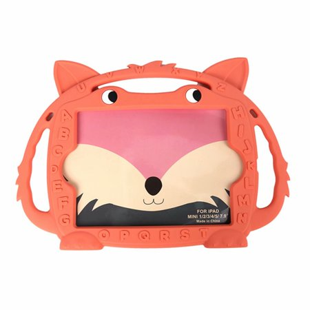 [Newset Design] iPad mini 5 Case For Kids, iPad mini 7.9 inch tablet Handle Case, Dteck Shockproof Soft Silicone Protective Case Cartoon ABC Hybrid Cover For iPad mini 1 2 3 4 5 7.9 inch, Flesh Fox