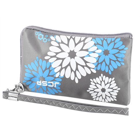 Flowers Print Zippered Polyester Pouch Bag w Hand Strap Dark Gray