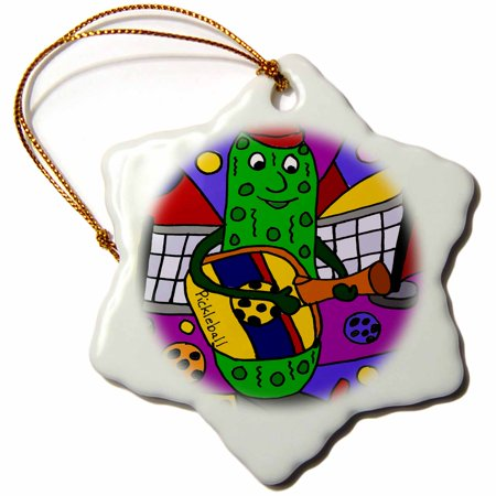 3dRose Funny Colorful Pickle Playing Guitar with Pickleball Paddle - Snowflake Ornament, 3-inch - Guitar Ornaments