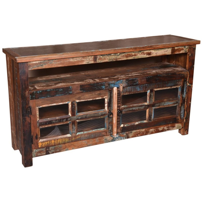 """Beaumont Lane 59"""" Marble Top Media Cabinet in Brown"""