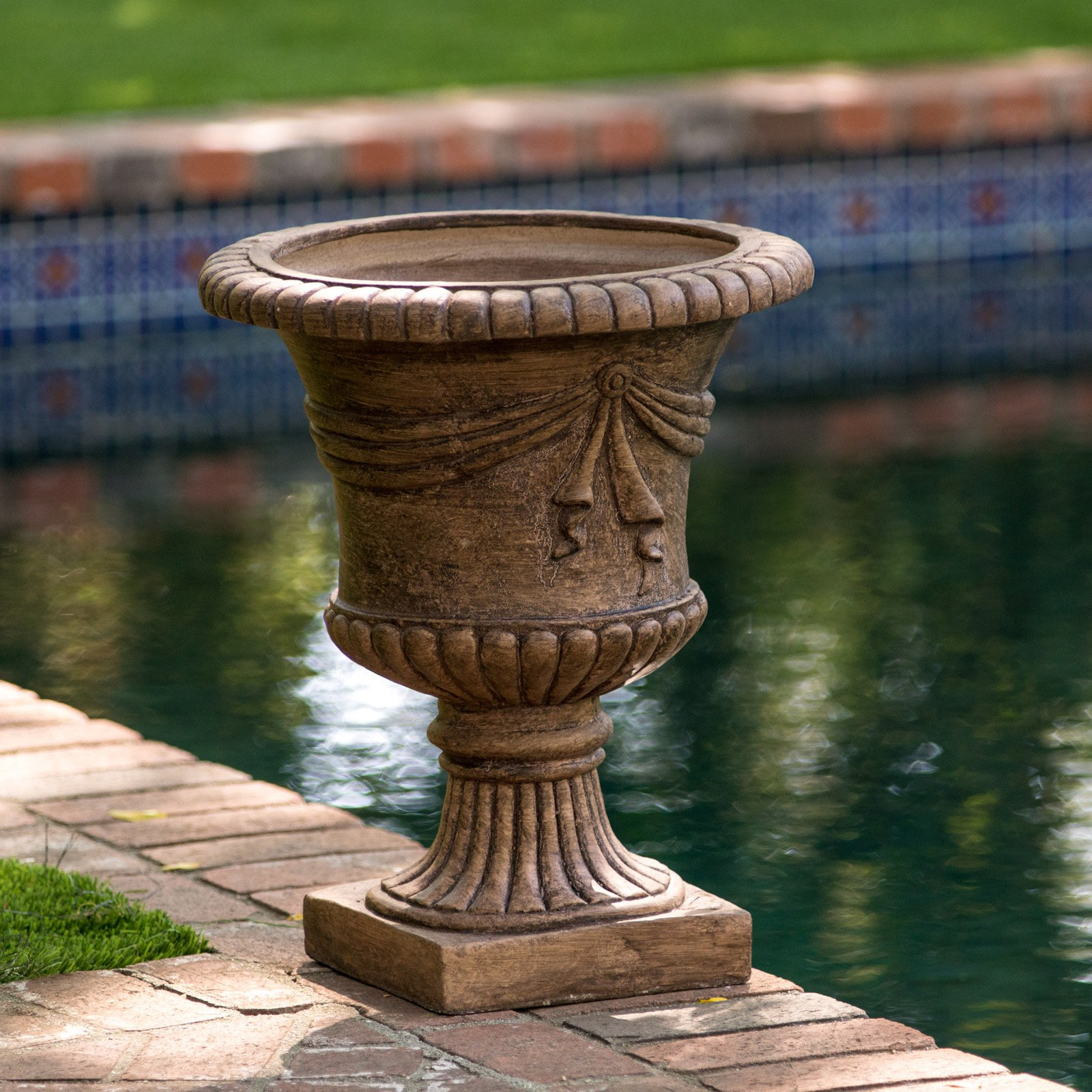 Antique Clay Zeus Urn Planter