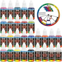 24 Color 1oz Super Starter Airbrush Acrylic Paint Set Cleaner Thinner Color Mixing Wheel