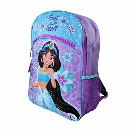 Disney Aladdin Princess Jasmine Girls School Backpack Mesh Pockets - Princess With A Backpack