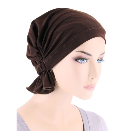 Turban Plus The Abbey Cap ® Womens Chemo Hat Beanie Scarf Turban for Cancer Blended Knit Chocolate