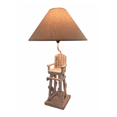 Whitewashed Beach Lifeguard Chair Table Lamp with Linen Shade 28 In.