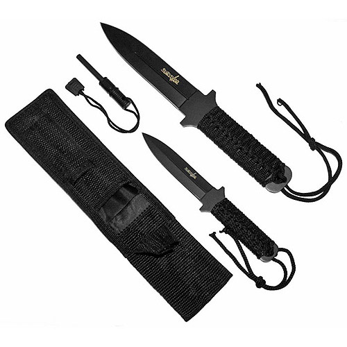 Whetstone Survivor Fire Starter Survival Knife Set, Black