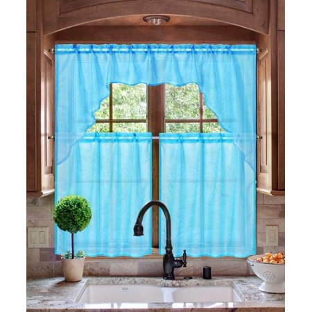K66 TURQUOISE 3-PC Luxurious Sheer Organza Kitchen Rod Pocket Window Curtain Treatment Set, Beautiful Solid Tier Panels with Matching Valance - Cute Mixed Girls With Swag
