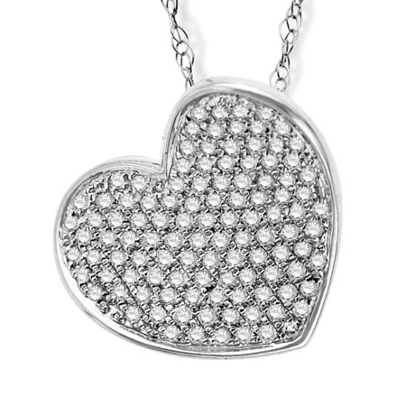 1/3 ct Diamond Heart Pendant Necklace in 14kt White Gold