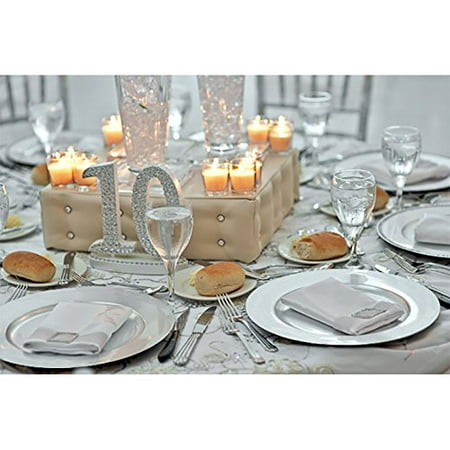 Luxurious Silver Round Charger Dinner Plates 13 inch Set of 1,2,4,6, or 12 - Up Your Dinner Game! (6)