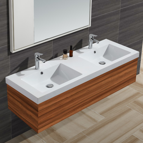 Empire Industries Diamond Stone Solid Surface 61'' Double Bathroom Vanity Top