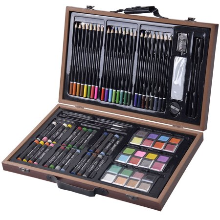 Felji 80-Piece Deluxe Art Set Drawing And painting w/ Wood Case & Accessories
