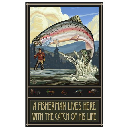 Catch of His Life Rainbow Trout Fisherman Hills Travel Art Print Poster by Paul A. Lanquist (12