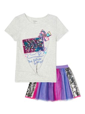 Jojo Siwa Exclusive Girls Top and Sequin Tutu Skirt, 2-Piece Outfit Set, Sizes 4-16