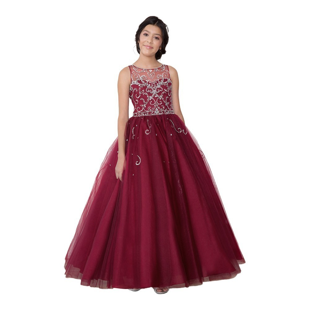 Girls Royal Blue Bejeweled Floor-Length Pageant Dress