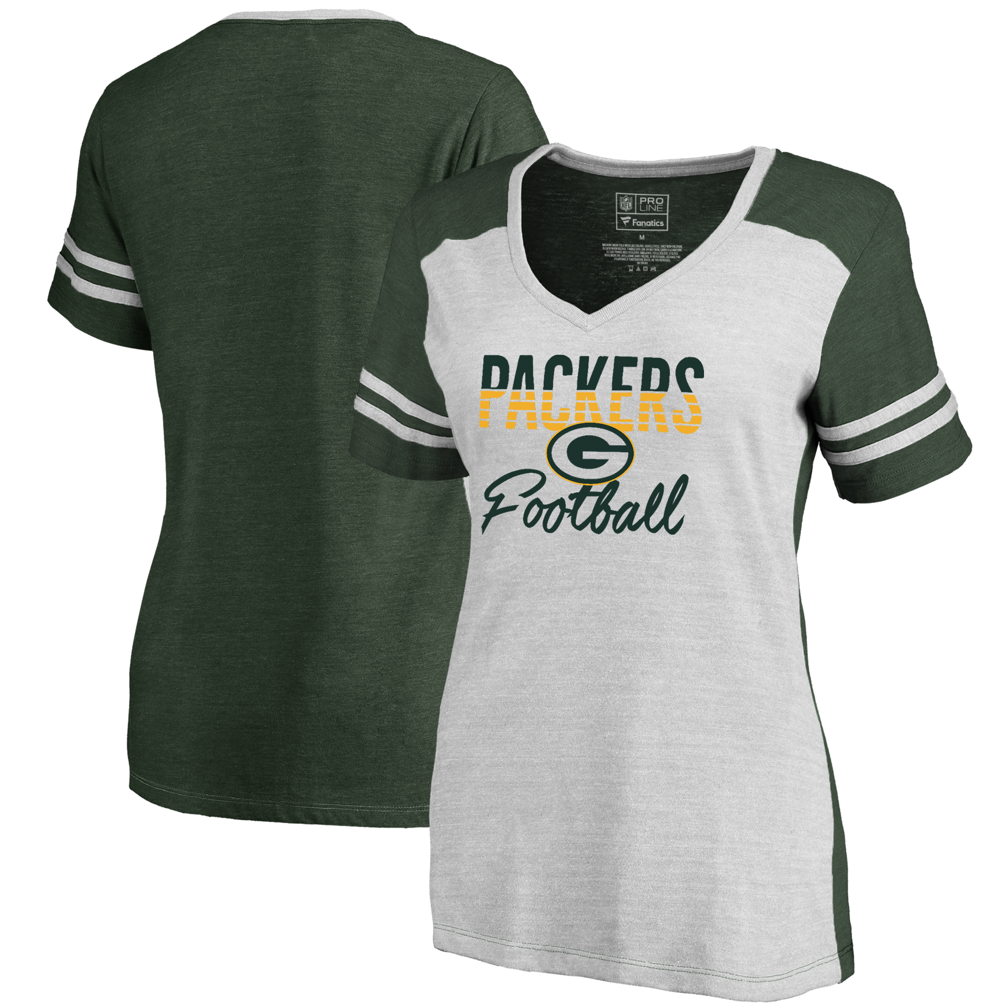 b1645a5ad Green Bay Packers NFL Pro Line by Fanatics Branded Women's Free Line Color  Block Tri-Blend V-Neck T-Shirt - White/Green - Walmart.com