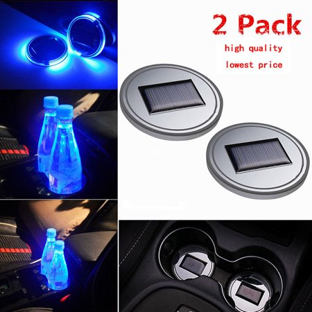 Solar Pals - 2PC Solar Cup Pad Car Accessories LED Light Cover Interior Decoration Lights