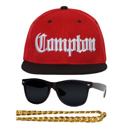 Compton 80s Rapper Costume Kit - Flat Bill Hat + Sunglases + Chain Necklace
