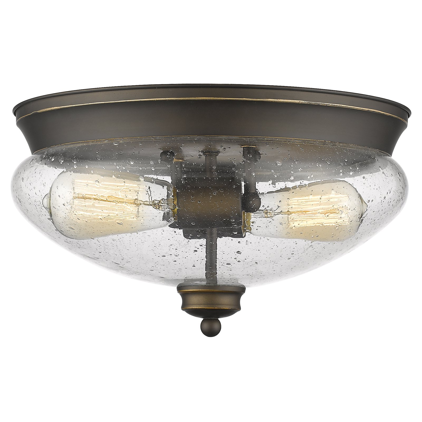 Z-Lite Amon 2-Light Flush Mount, Olde Bronze and Clear Seedy