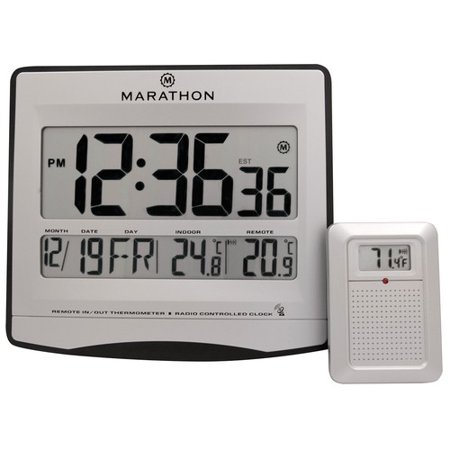 - Marathon Watch Company Atomic Wall Clock with 8 Timezones, Indoor/Outdoor Temperature & Date in Silver - Batteries Included