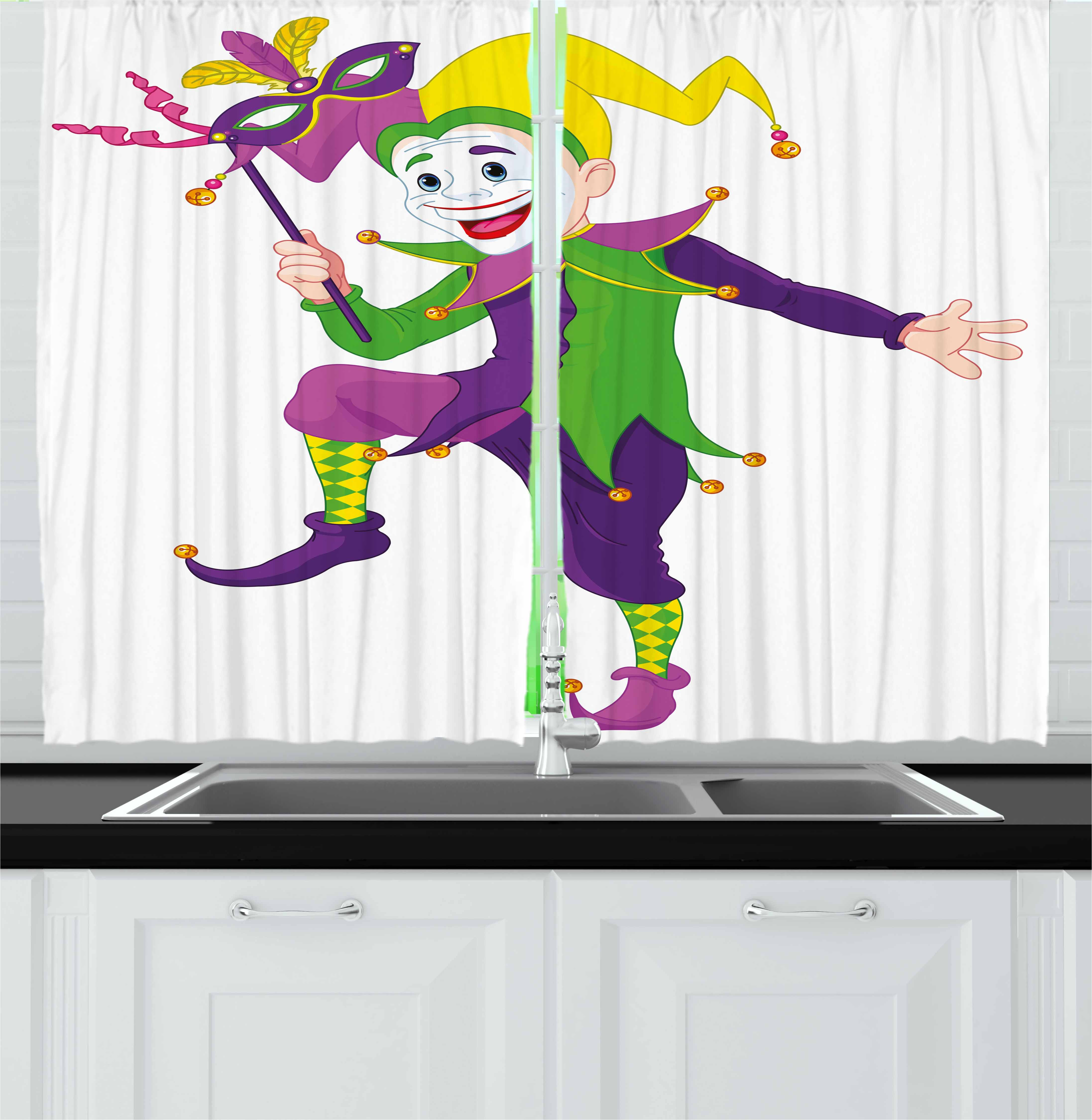 Mardi Gras Curtains 2 Panels Set, Cartoon Style Jester in Iconic Costume with Mask Happy Dancing Party Figure, Window Drapes for Living Room Bedroom, 55W X 39L Inches, Multicolor, by Ambesonne